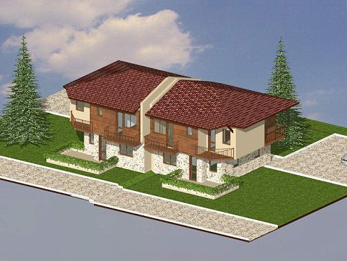Plot with project of complex of four houses in Rosen village